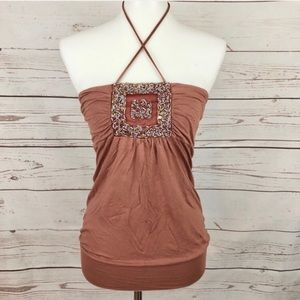 Dusty Rose Clay Vintage Beaded Sequin Top